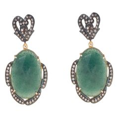 FREE SHIPPING  925 STERLING SILVER NATURAL GREEN AVENTURINE GEMSTONE EARRING #SilvexStore #DropDangle