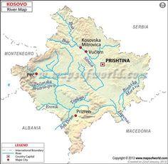 Kosovo Rivers Map