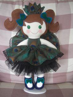 Peacock Princess Rag Doll - more like her and more handmade crafts at https://www.facebook.com/TartyFrog