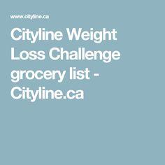 Cityline Weight Loss Challenge grocery list - Cityline.ca