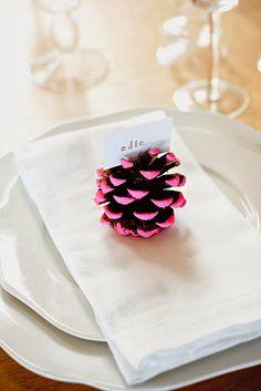 Een leuk naamkaartje op tafel en helemaal in de kerstsfeer blijven? Gebruik een dennenappel, een klein verfkwastje en vergeet vooral niet je enthousiasme!