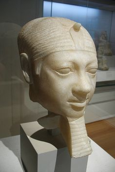 Alabaster Head of King Menkaura, reign: ca 2490-2472 BC, Dynasty 4. (Giza, pyramid temple of Menkaura)