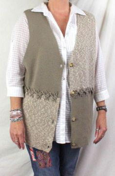Alpine Collection Sweater Vest 14 16 L XL Size Beige Taupe Womens All Season