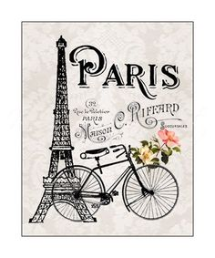 Estilo romántico de París, Torre Eiffel y lámina bicicleta 8 x 10