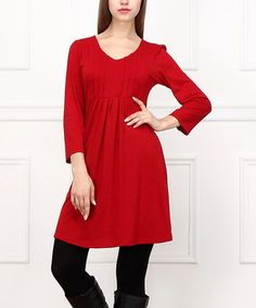 Love this Red Pin Tuck Three-Quarter Sleeve Dress by  on #zulily! #zulilyfinds
