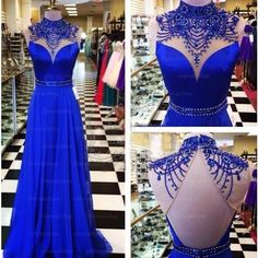 Gorgeous Beaded High Neck Roayl Blue Backless Long Prom Dress, WG576
