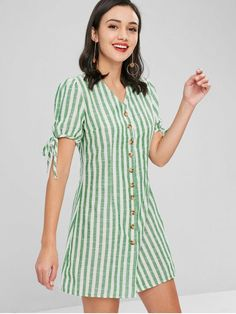 No Fall Striped Short V-Collar Mini A-Line Casual and Day and Work Brief Button Down Striped Dress Casual Dresses For Women, Cute Dresses, Short Sleeve Dresses, Ladies Dresses, Mini Dresses, Sexy Dresses, Party Dresses, Summer Dresses, Clothes For Women