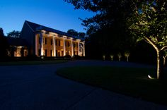 Beautiful outdoor lighting designs in Belle Meade, Nashville TN by Outdoor Lighting Perspectives of Nashville Facade Lighting, Lighting Design, Commercial Lighting, Curb Appeal, Outdoor Lighting, Nashville, Perspective, Mansions, Landscape