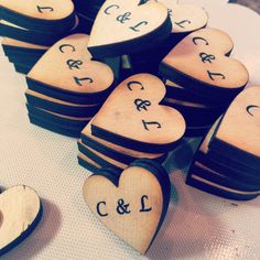 A lovely gift for your wedding guests to take home. Each is hand burned & not engraved giving it a real personal touch. Hearts are 1 x 1/4 thick with a