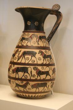 Black-figured Olpe, Greek made in Corinth, BC, Terracotta, The Getty… Ancient Greek Art, Ancient Greece, Greek Pottery, Pottery Art, Archaic Greece, Minoan Art, Black Figure, Malibu California, California Bedroom