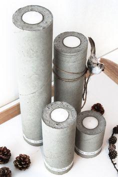Waxinelichthouders van beton - DIY