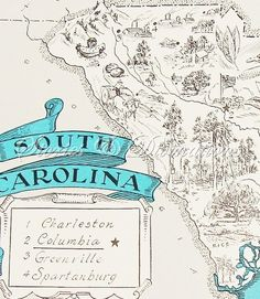 South Carolina Vintage Map - Cottage Chic - Shabby Chic - A Fun and Funky Vintage Picture Map to Frame available at StoriesDivinations on Etsy Stories and Divinations South Carolina Homes, Carolina Usa, Charleston South Carolina, North Carolina, Charleston Sc, Southern Charm, Southern Belle, Southern Living, Palmetto State