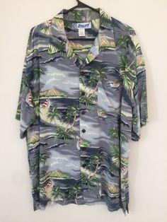5a2097c3 90's Magnum PI sz L Utility Grey Hibiscus Islands Paradise Found Hawaiian  Aloha shirt Reyn Spooner