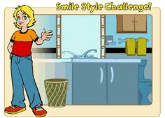 Kristie in the bathroom SMILE STYLE CHALLENGE! To complete the challenge, you need to choose the items that would help give you a great smile and need to be on your bathroom counter.