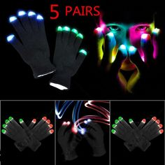 5x Fashion Cool LED Flashing Gloves Glow 7 Mode Light Up Finger Lighting Black V | eBay