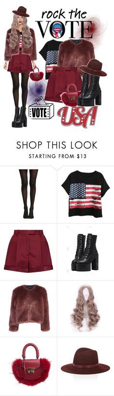 """Rock the vote in style"" by anastasia-17 ❤ liked on Polyvore featuring Hot Topic, Chicnova Fashion, Valentino, Stine Goya, SALAR, Janessa Leone, DC Shoes and rockthevote"
