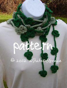 Lucky Clover Lariat Scarf PATTERN Shamrock Saint | Etsy Pdf Patterns, Knitting Patterns, Crochet Patterns, Crochet Garland, Crochet Bunting, Crochet Scarves, Crochet Hats, Crochet Videos, Slip Stitch