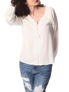 White Long Sleeve Blouse With Embroidery Detail