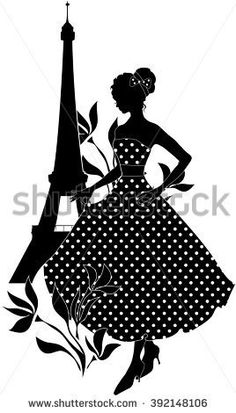 ESZAdesign (Svetlana Zdanchuk) Retro woman red and black silhouette with Eiffel Tower - stock vector