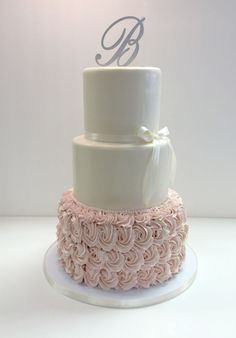 Fondant & buttercream rosette wedding cake by Frost It Cakery Blush wedding cake