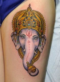 Lord Ganesha Tattoos Designs and Ideas - Tattoosera Hand Tattoos, Arrow Tattoos, Rose Tattoos, Arm Tattoo, Sleeve Tattoos, Tattoo Finger, Thai Tattoo, Ganesh Tattoo, Elephant Face