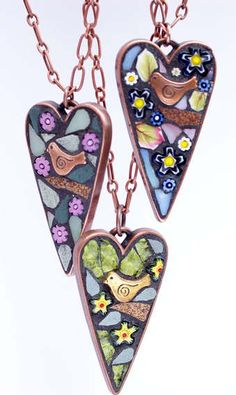 Heart Branch Mosaic Jewellery Pendants by Angela Ibbs. Perfect gifts for your bridesmaids.