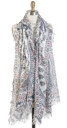 This gorgeous, lightweight scarf is an absolutely perfect finishing touch for any spring or summer outfit. Wrap it around, or simply throw it on and go to instantly add a pretty, feminine vibe to any outfit. Beautiful, delicate, and simple.