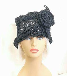 Black Crochet Hat Womens Hat Summer Hat Crochet Cloche Hat Crochet Flower Black Hat OMBRETTA Cloche Hat Crochet Hat 55.00 USD by #strawberrycouture on #Etsy