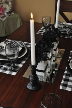 A table set in black & white buffalo check