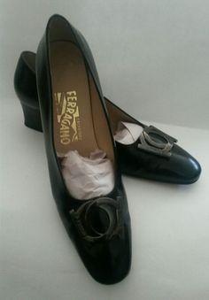 Ferragamo Interlocking Gancini Black Leather Pumps Womens Size 9.5 AA #Ferragamo #PumpsClassics #WeartoWork