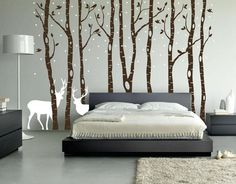Birch Tree Wall Decal Forest with Snow Birds and Deer Vinyl Sticker Removable…