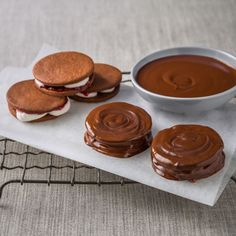 Haigh's Chocolate Wagon Wheels.  The Haigh's version of this iconic Australian chocolate treat consists of two chocolate shortbread biscuits sandwiched between a raspberry jam and marshmallow filling and then covered in a glossy chocolate coating. They have been a popular afternoon snack since their introduction in 1948, and now, with this recipe you can easily make them from scratch using Haigh's premium chocolate.