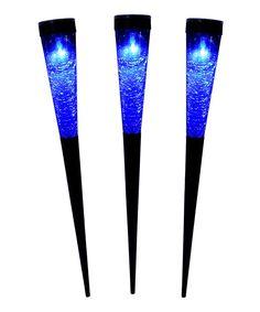 Loving this Dark Blue Sparkle Cone Solar Torch Light - Set of Three on #zulily! #zulilyfinds