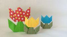 折り紙*自立するチューリップ Origami Tulip