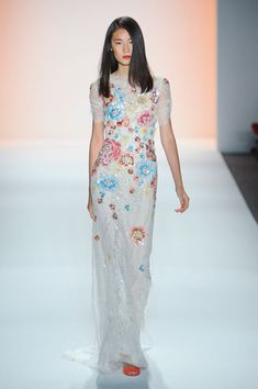 Jenny Packham Spring 2012. white gown + flowy + primary color blooms XX<3