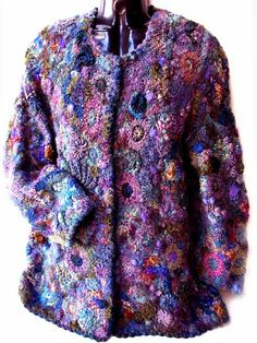 One of Prudence Mapstone's freeform knit/crochet jackets . Crochet Coat, Crochet Jacket, Love Crochet, Irish Crochet, Crochet Clothes, Crochet Tunic, Crochet Dresses, Textiles, Crochet Designs