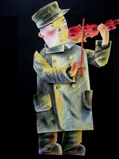 """""""Joseph plays his violin"""" by Clive Hicks-Jenkins from his animation for Stravinsky's """"The Soldier's Tale"""", 2013"""