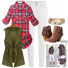 Frugal Fashion Friday White in Fall Outfit on Frugal Coupon Living. Wearing white isn't just for the warmer months, pair it with the right accents and make this outfit, rugged chic! An olive vest worn over a classic red flannel top ties this outfit together. Don't forget your booties! Fall Fashion. White Jeans Outfit.