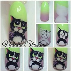 :-) nail designs 2019 short nail designs 2019 nail stickers walmart best nail stickers best nail wraps 2019 latest nail art designs gallerynail designs for short nails 2019 self adhesive nail stickers nail art stickers how to apply nail art strips Nail Art Chat, Cat Nail Art, Animal Nail Art, Cat Nails, Uñas One Stroke, Nail Art Dessin, Animal Nail Designs, Cherry Blossom Nails, Nails Polish