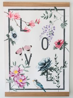 Floral love watercolor poster