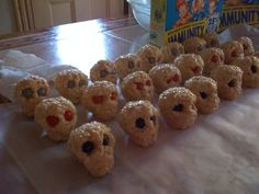 Rice Krispie Skulls: I could totally see using edible markers to decorate these!