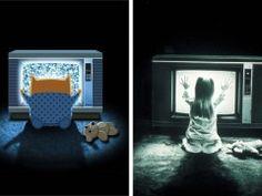 Gatos em releituras de cartazes de filmes clássicos: Poltergeist