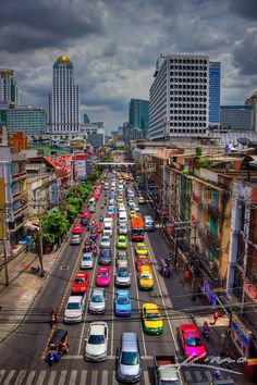 Must try to recreate with road near home  Colorful taxis in Bangkok