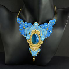 Blue Gold Statement Necklace Soutache Necklace by OzdobyZiemi