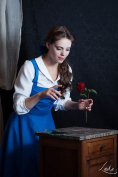 Bewitched Rose by Erendrym.deviantart.com on @deviantART - Belle cosplay, uploaded by the photographer. FYI: the rose is not floating because of Photoshop! It's trick photography ;)