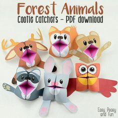 Forest Animals Cootie Catchers – Origami for Kids - Crafts - Kids Crafts, Summer Crafts, Crafts To Do, Projects For Kids, Diy For Kids, Craft Projects, Arts And Crafts, Paper Crafts, Stick Crafts