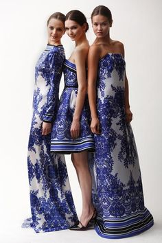 Unique & Iconic Blue and White Chinoiserie print dresses.