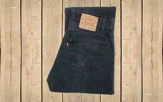 Vintage Levis 501 Jeans USA Made 1990s Straight Leg Black Denim Button Fly Red Tab Measure as W32 L35.5 by BlackcatsvintageUK on Etsy
