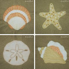 Stroll on the Beach Applique Collection - Wee Folk Art - this site has some lovely, free applique patterns and ideas - I hope to take inspiration from them and create some ornaments out of felt and/or scrap fabrics ~M x Wool Applique Quilts, Wool Quilts, Felt Applique, Free Applique Patterns, Sewing Appliques, Applique Ideas, Penny Rugs, Beach Quilt, Applique Monogram