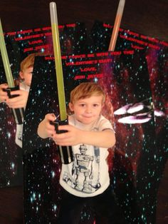 Star Wars DIY Valentines card with glow stick light saber!